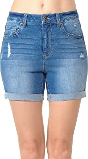 Wax Women's Juniors High Rise Midi Denim Shorts with Destruction