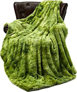 FFLMYUHUL I U Super Soft and Warm Bed Linen Nap Blanket Bedspread Blanket Luxury Throw Blanket Decorative for Bedroom Sofa Floor Green