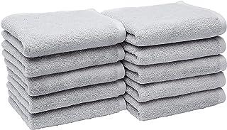 Amazonベーシック フェイスタオル 綿100% 柔らか素材 ライトグレー 10枚セット