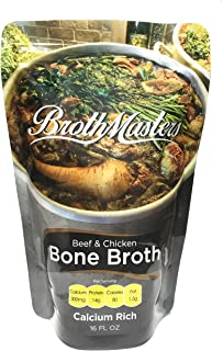 BrothMasters Bone Broth - 4 Pack (16 ounces each) Grass Fed Beef Bones, Pasture Raised Chicken Bones and Organic Vegetables. 300 Milligrams Calcium, 14 grams of Protein