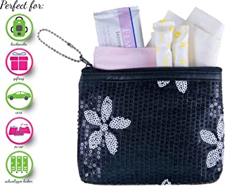 Period Starter Kit - Fashionable and Organic Menstrual Period Survival Kit - When Aunt Flo Makes a Surprise Visit! (Your First Choice to-Go!) (Black)