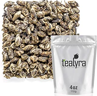 Tealyra - Jasmine Phoenix Pearls - Best Chinese Jasmine Green Tea - Loose Leaf - Organically Grown - Great Jasmine Aroma and Taste - 110g (4-ounce)
