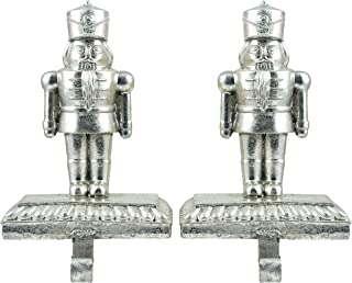 Caffco Nutcracker Soldier Christmas Stocking Holders - Set of 2 (Silver)
