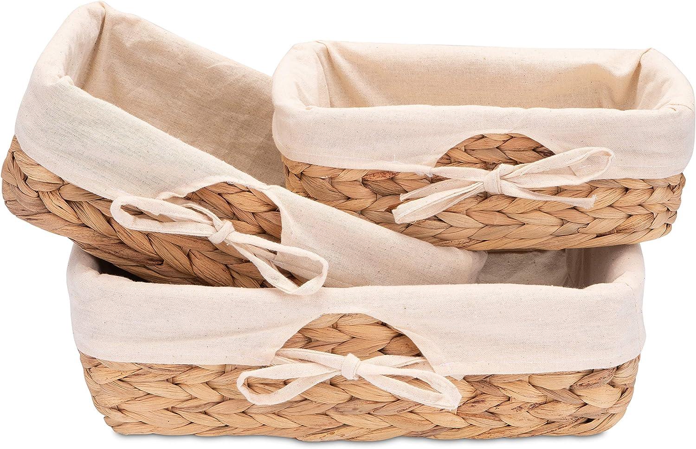 Decorasian Juego de 3 cestas de pan trenzadas, de algas marinas con paño de lino, jacinto de agua