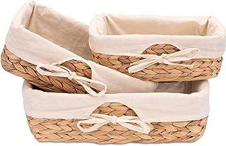 Decorasian Lot de 3 corbeilles à pain tressées en jonc de mer avec tissu en lin - jacinthe d'eau