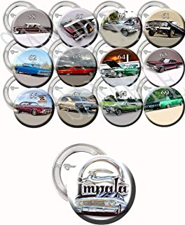 "Chevy Impala Car Buttons1958-1969 Collectors Party Favors Supplies Decorations lowriders Collectible Metal Pinback Buttons, Large 2.25"" -12 Piece Set Party Decoration Favors"