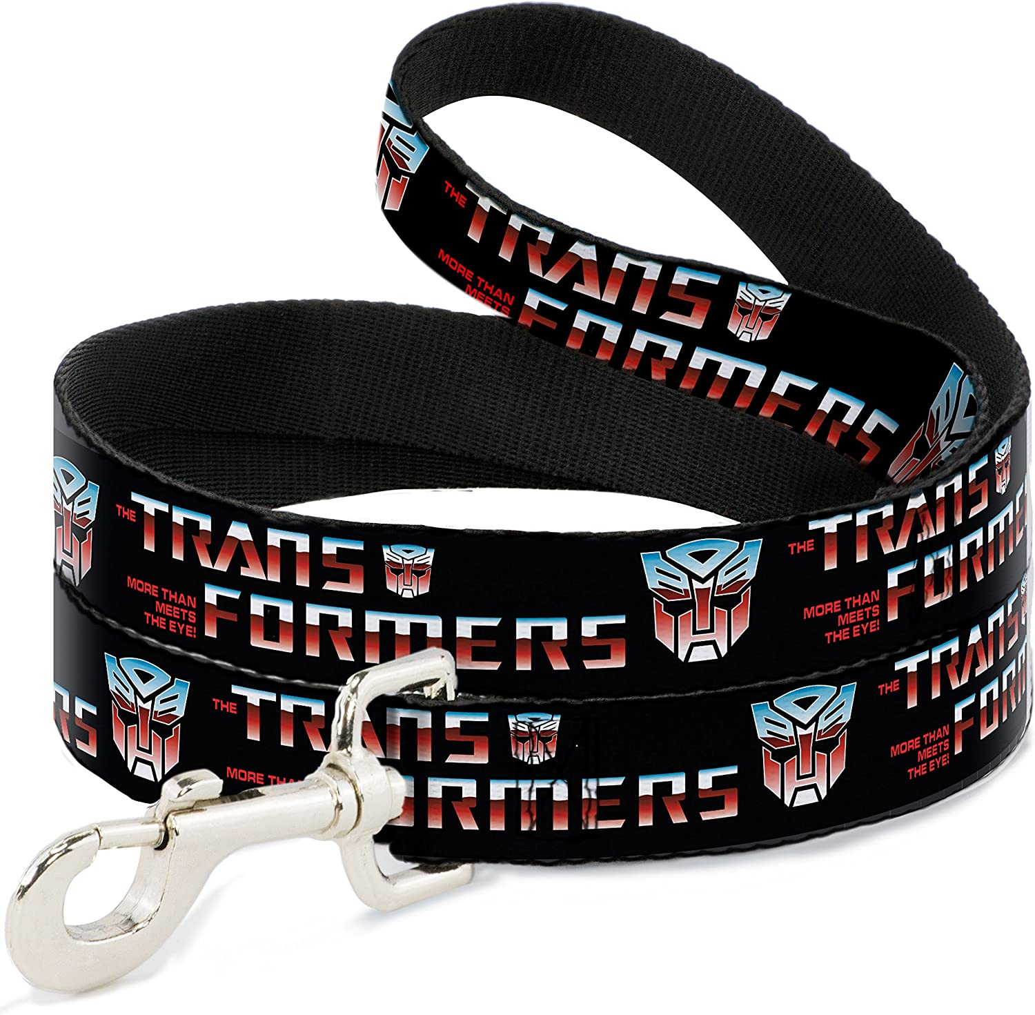 BuckleDown DLWTF013 Dog Leash, Transformers Logo Autobot Black blueeRed Fade, 4'