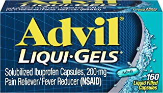 Advil Liqui-Gels Pain Reliever / Fever Reducer Liquid Filled Capsule, 200mg Ibuprofen, Temporary Pain Relief (160 Count (Pack of 1))