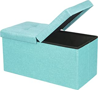 Otto & Ben Folding Toy Box Chest with SMART LIFT Top, Upholstered Tufted Ottomans Bench Foot Rest for Bedroom, Mint Blue