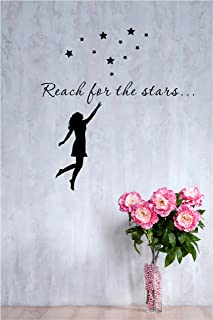 Reach for the Stars... Girl Reaching Out to the Sky 22x24 Inches Vinyl Car Sticker Symbol Silhouette Keypad Track Pad Decal Laptop Skin Ipad Macbook Window Truck Motorcycle