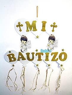 Blue Pink Gold Halo Mi Bautizo Angel Wings Baby Figure Boy Girl 30