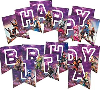Happy Birthday Banner for Party Decorations - Premium Reusable Eco-friendly Fun - Video Game Birthday Party Supplies - Superhero Nite Favors Gaming for Kids, Boys, and Adults Gamer Halloween Christmas Season Theme Night