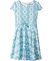Us Angels - Daisy Lace Cap Sleeve Dress w/ Belt & Full Skirt (Big Kids)