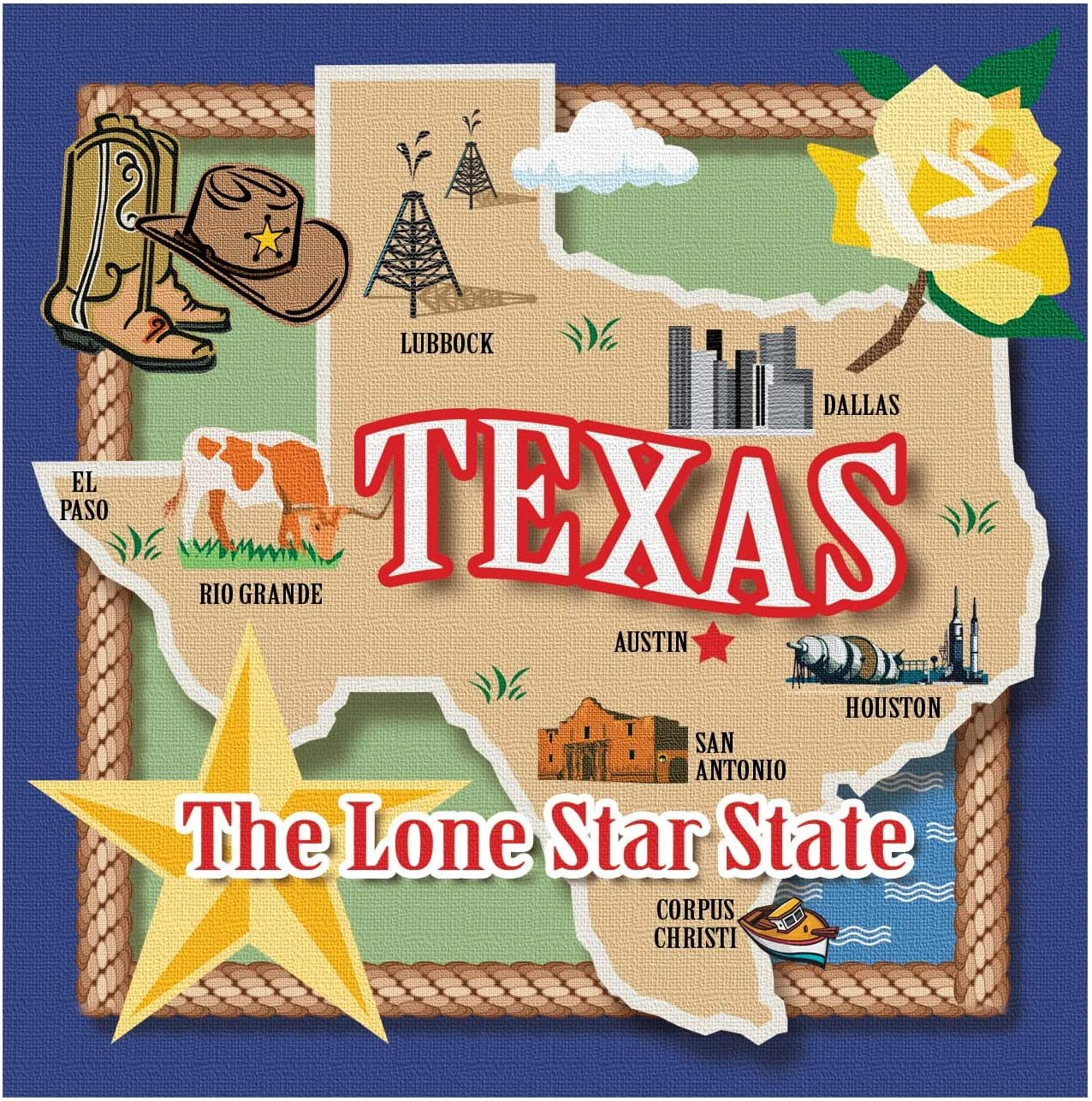 Texas the Lone Star State Drink Coaster Set