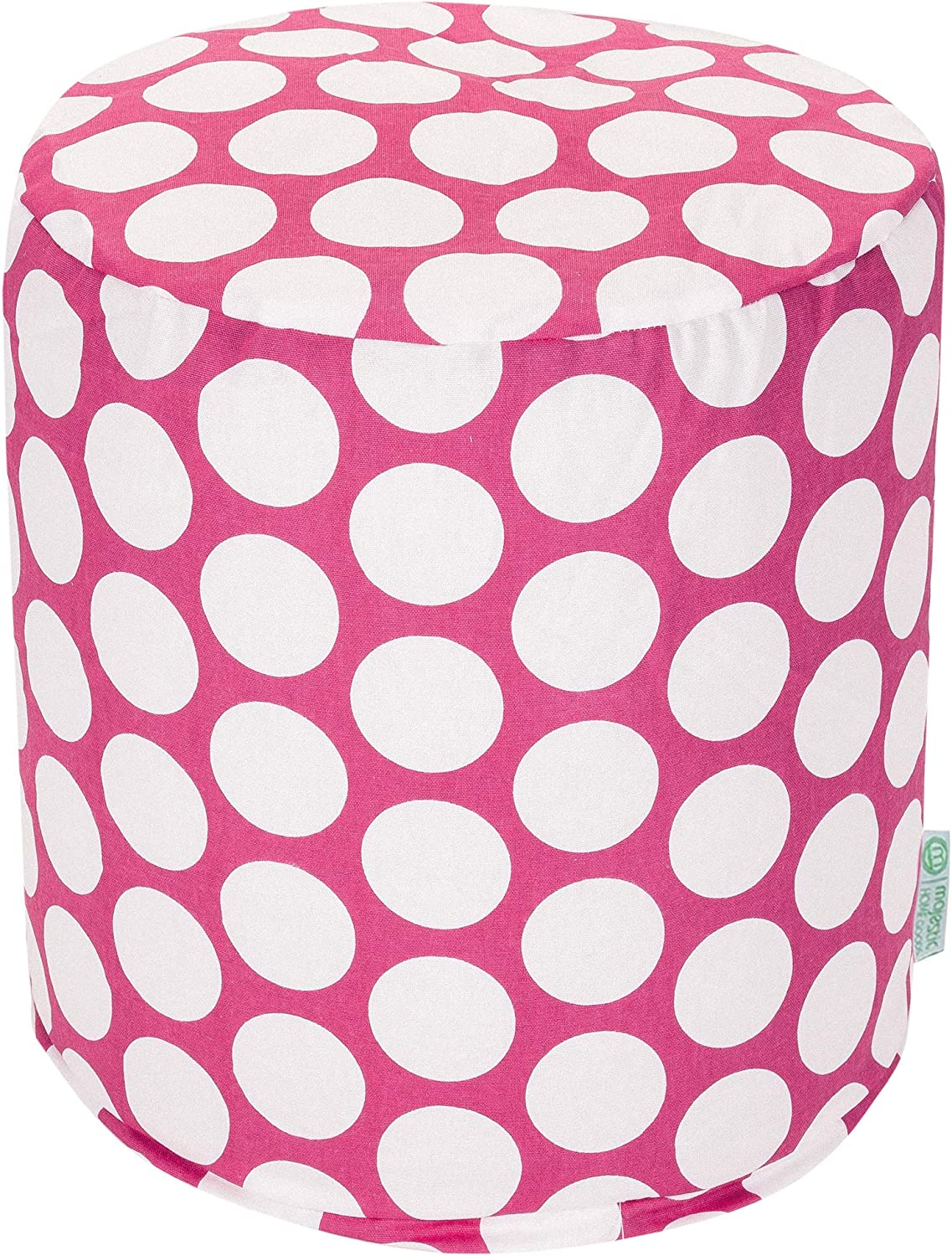 Majestic Home Goods Hot Pink Large Polka Dot Small Pouf