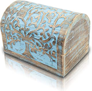 Great Birthday Gift Ideas Handmade Decorative Wooden Jewelry Box With Tree of Life Carvings Jewelry Organizer Keepsake Box...