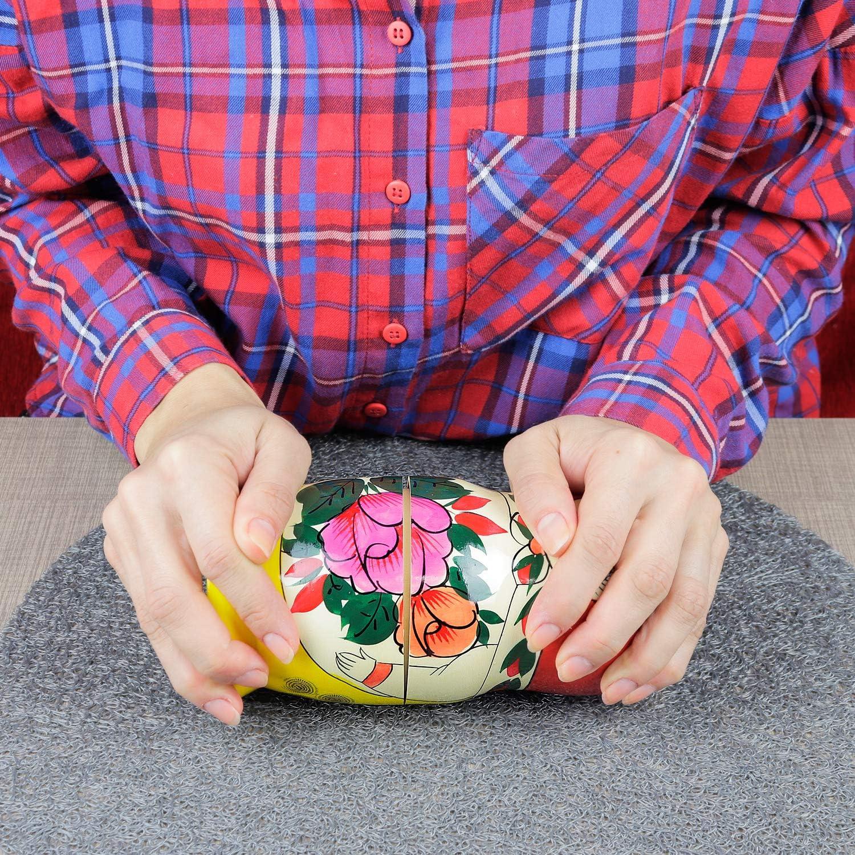 Handgefertigt in Russland 18 cm 7 traditionelle Matroschkas Klassisch Semyonov Rot Heka Naturals Russische Matroschka-Puppen Semyonov Rot | Babuschka Holzpuppe Geschenk Spielzeug 7 St/ück