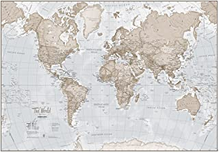 Large Map of The World – Silk Art Print World Map – Neutral Tones - 33 x 23