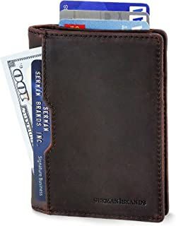 SERMAN BRANDS - Wallets for Men Slim Mens leather RFID Blocking Minimalist Card Front Pocket Bifold Travel Thin