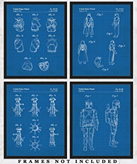 Original Star Wars Action Figures Blueprint Art Prints – Set of 4 Unframed 8 x 10 Poster Photos. Unique Wall Art for Home, Room & Office Decor. Great Gifts for Men, Women Boys, Girls & Movies Fans