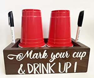 Double Solo Disposable Cup Holder Drink Caddy Party Cup Holder Dispenser Wooden Organizer Storage Marker Holder Mark Your Cup and Drink Up Rustic Farmhouse Bar Party Decor