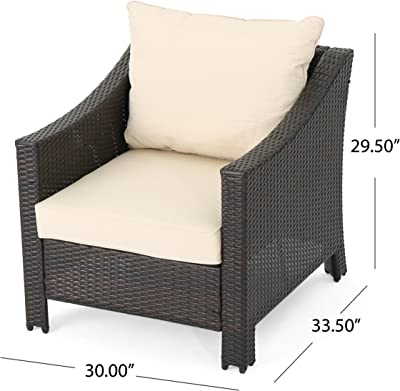 8036a3c8673 Caspian Outdoor Patio Furniture Multibrown Wicker Club Chair with Beige  Water Resistant Fabric Cushions (Set