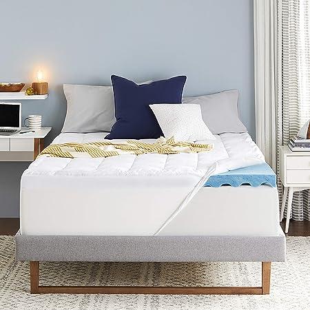 Sleep Innovations Ultra Soft Support Gel Memory Foam Dual Layer Mattress Topper, 4 Inches, Queen