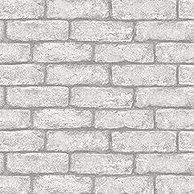 In Home NH3060 Cambridge Brick Grey Peel & Stick Wallpa Peel and Stick Wallpaper