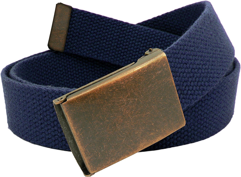 Boys School Uniform Antique Copper Flip Top Belt Buckle with Canvas Web Belt