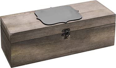 MyGift Rustic Burnt Wood Wine Gift Box & Carrying Case with Chalkboard Label