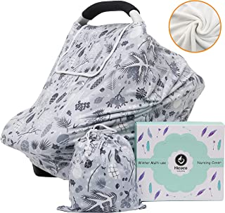 Winter Fleece Lined Baby Car Seat Covers Thermal Double Layer Carseat Canopy Multi-use Stretchy Breastfeeding Nursing Covers for Boys and Girls (Winter Fleece Grey)