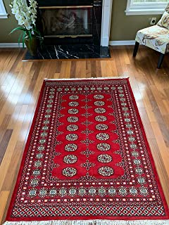 Red Hand Knotted | Red Bokhara Rug | Mori Gola Style-Elephant Feet | Pakistani Bokhara Rug | Wool Made | Stampa Rugs Living Room (6' x 4'2'')