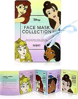 MAD BEAUTY Disney Princesses Face Mask Booklet (Pack of 4)   Ariel, Aurora, Jasmine, and Belle   Lavender, Green Tea, Rose...