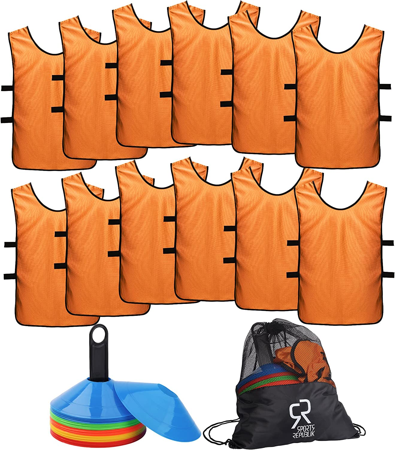 Soccer Cones (Set of 50) and Sports Jerseys Pinnies (12Pack)  Perfect Disc Cones for Basketball Drills, Complete Soccer Training Equipment  Agility Cones for Soccer Drills or Football Equipment