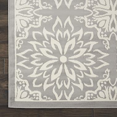 "Nourison JUB06 Jubilant Transitional Floral Ivory/Grey Area Rug 7'10"" x 9'10"", 8' x 10'"