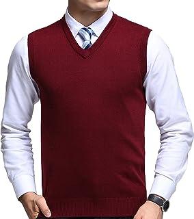 FULIER Mens Winter V-Neck Sleeveless Vest Classic Business Gentleman Knitwear Knitted Waistcoat Sweater Cardigans Tank Tops