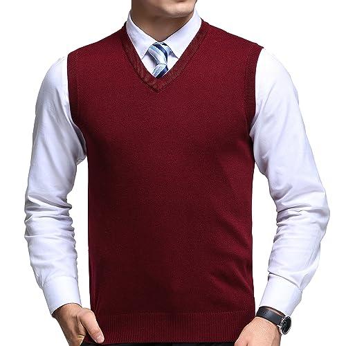 4c283d0e4dbaa FULIER Mens Winter V-Neck Sleeveless Vest Classic Business Gentleman Knitwear  Knitted Waistcoat Sweater Cardigans