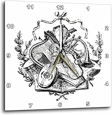 3dRose dpp_62437_2 Vintage Sketch of Celtic Music Wall Clock, 13 by 13-Inch