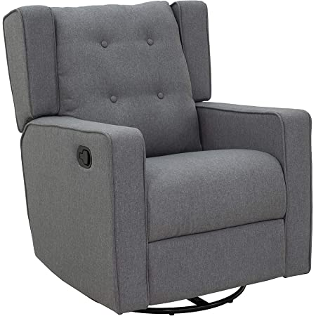 HOMCOM Wingback Recliner Chair Manual Rocking Sofa 360° Swivel Glider with Button Tufted, Padded Seat, Single Home Theater Seating for Living Room Bedroom, Grey