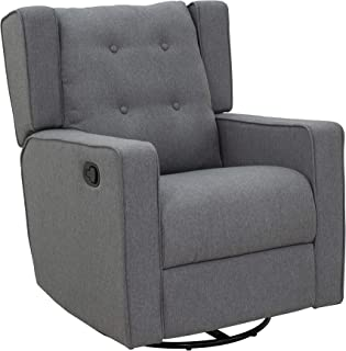 HOMCOM Wingback Recliner Chair Manual Rocking Sofa 360° Swivel Glider with Button Tufted, Padded Seat, Single Home Theater...