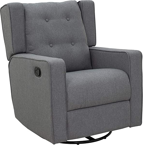 HOMCOM Linen Fabric Swivel Gliding Recliner Sofa Chair Grey