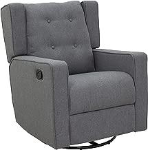 HOMCOM Linen Fabric Swivel Recliner Sofa Chair - Grey