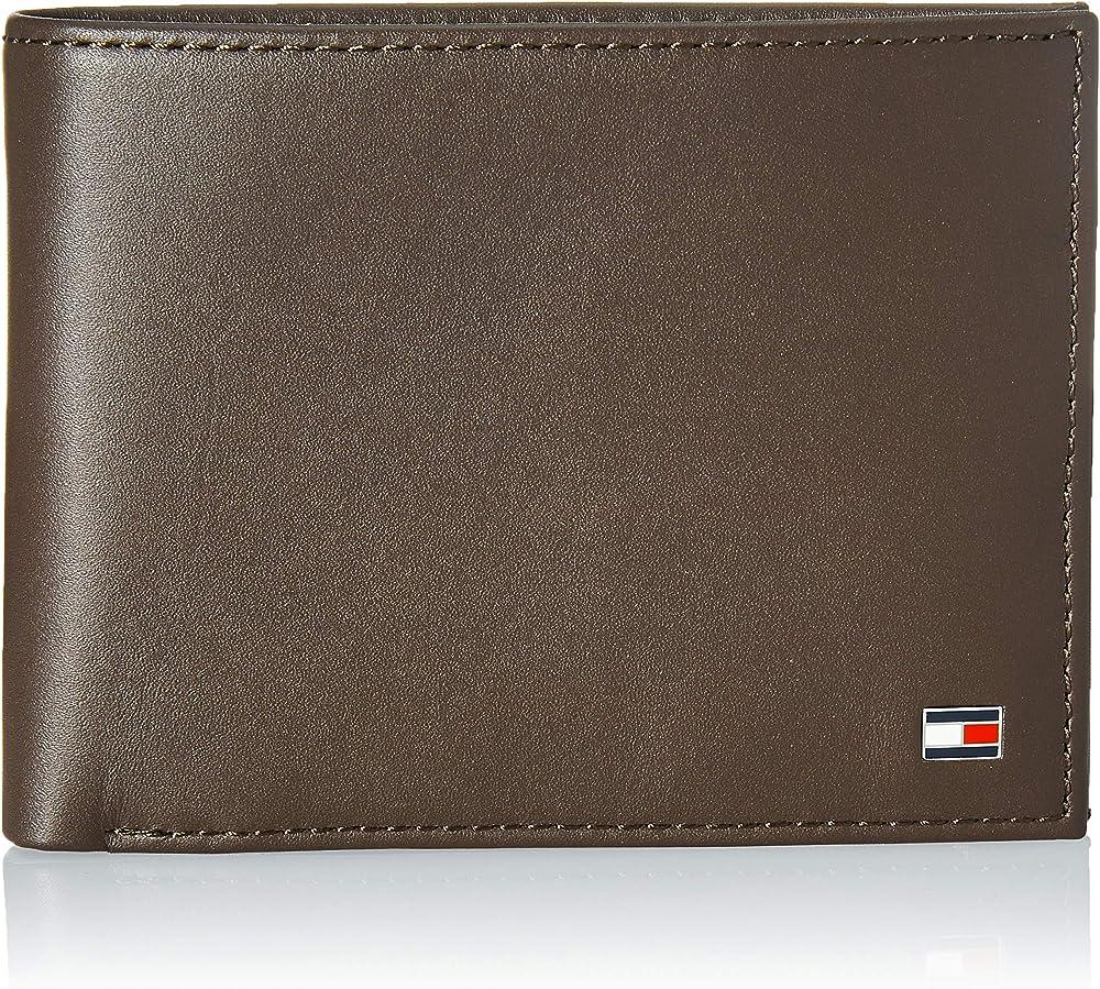 Tommy hilfiger, portafoglio da uomo, porta carte di credito, in vera pelle, marrone AM0AM00651A
