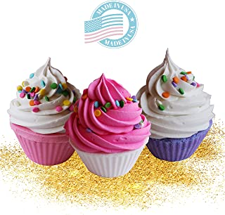 Bath Bomb Set of 3 Cupcakes Fizzy Lush Bath Bombs with Coconut Oil and Shea Butter Makes Spa Relaxation Bath Set