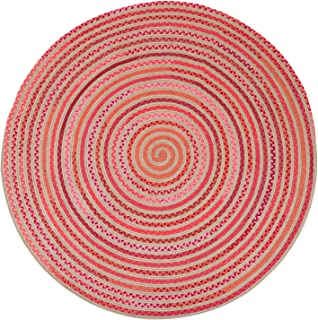 LOCHAS Natural Fiber Braided Area Rug Hand Woven Reversible Round Solid Jute&T/C Carpet for Living Room Bedroom Rugs(8.2' x 8.2'),Pink Red