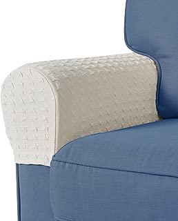Guken Spandex Stretch Fabric Armrest Covers Anti-Slip Furniture Protector Sofa Armchair Elastic Sofa Stretchable Furniture Protector Slipcovers for Recliner Sofa Set of 2 (Cream Beige)