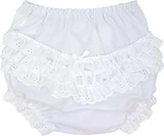 I.C. Collections Baby Girls White Batiste Rumba Diaper Cover Bloomers