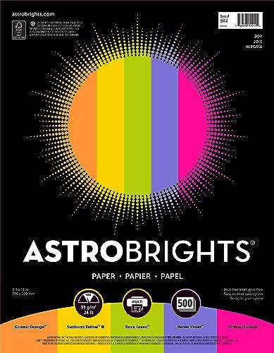 """Astrobrights Color Paper, 8.5"""" x 11"""", 24 lb/89 gsm, """"Joy"""" 5-Color Assortment, 500 Sheets (91414)"""