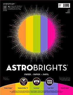 """Astrobrights Color Paper, 8.5"""" x 11"""", 24 lb/89 gsm,""""Joy"""" 5-Color Assortment, 500 Sheets (91414)"""