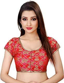 Ocean Fashion Women's Brocade and Georgette Round Neck Readymade Saree's Blouse